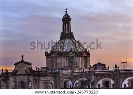 Metropolitan Cathedral Dome Zocalo, Center of Mexico City Sunrise - stock photo