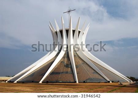 Metropolitan Cathedral in Brasilia, Brazil - stock photo
