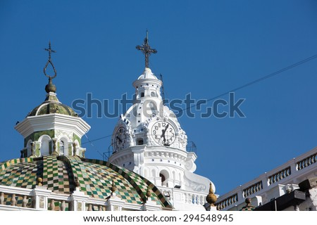 Metropolitan Cathedral of Quito in the Historic center early in the morning with blue clear sky, Quito, Ecuador 2015 - stock photo