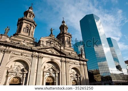 Metropolitan Cathedral, Plaza de Armas (Main Square), Santiago de Chile - stock photo