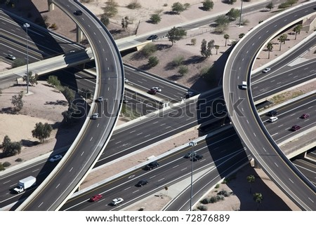 Metropolitan elevated freeway interchange - stock photo