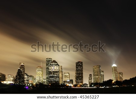 Metropolitan Skyline at Night - Houston, Texas - stock photo
