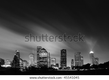 Metropolitan Skyline at Night in Black and White - Houston, Texas - stock photo