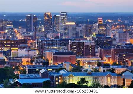 Metropolitan Skyline of downtown Birmingham, Alabama, USA. - stock photo