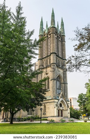 Metropolitan United Church in Toronto, Ontario, Canada. It is one of largest and most prominent churches of United Church of Canada, located on Queen Street East at corner of Church Street. - stock photo