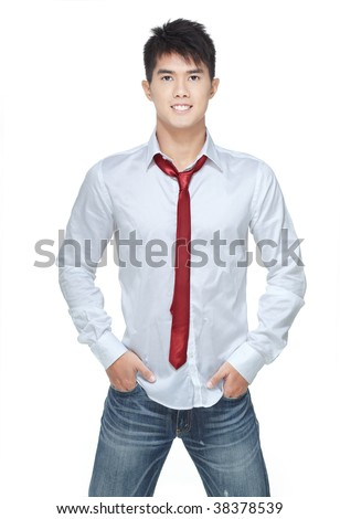 Metrosexual, handsome chinese hunk in white shirt,  jeans, red tie - stock photo