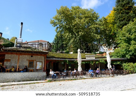 METSOVO VILLAGE, GREECE-OCTOBER 11: The tourists enjoing their vacation in Metsovo village on October 11, 2013 in Metsovo, Greece. Up to 12 mln tourists is expected to visit Greece in year 2013