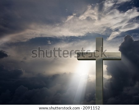 Mettalic Cross and sky - stock photo