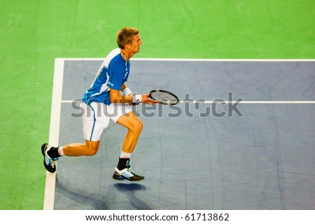 METZ, FRANCE - SEPTEMBER 24: Jarkko Nieminen (Finland, ATP No. 62) is defeated by Mischa Zverev (GER, not pictured) in the quarterfinals of the ATP Open de Moselle on September 24, 2010 in Metz.