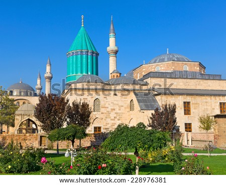 Mevlana museum mosque in Konya. The mausoleum of Jalal ad-Din Muhammad Rumi  - stock photo