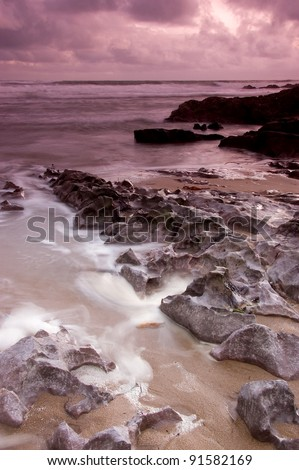 Mewslade Beach, Gower, South Wales, UK - stock photo