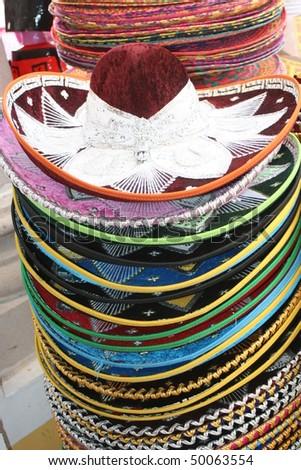Mexcian market hats - stock photo