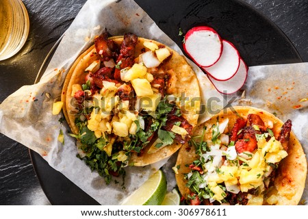 mexican al pastor street tacos overhead shot close up - stock photo