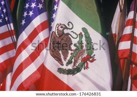 Mexican and American Flags, May 5th, Olvera Street, Los Angeles, California - stock photo