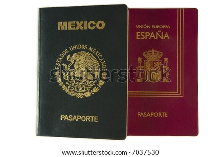 Mexican and Spanish passport - stock photo