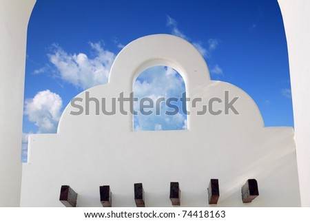 Mexican architecture white arches blue sky in Mayan Riviera - stock photo