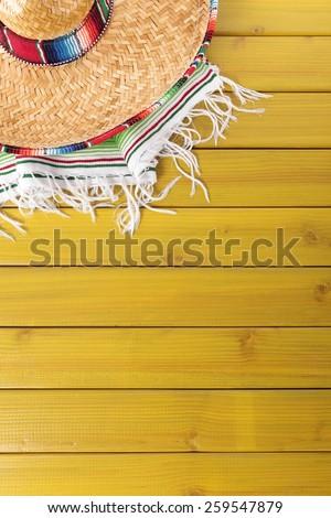 Mexican background, sombrero, vertical - stock photo