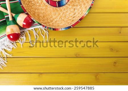 Mexican background, sombrero, wood, blanket - stock photo