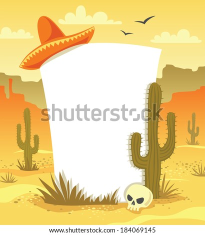 Mexican background with desert  landscape, cacti, hat and skull  - stock photo