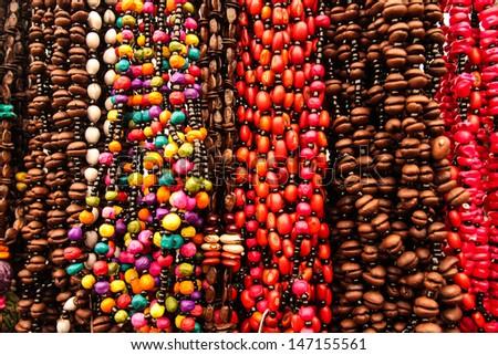 Mexican beads, indian handcrafts market, San Cristobal de las Casas, Chiapas Mexico - stock photo