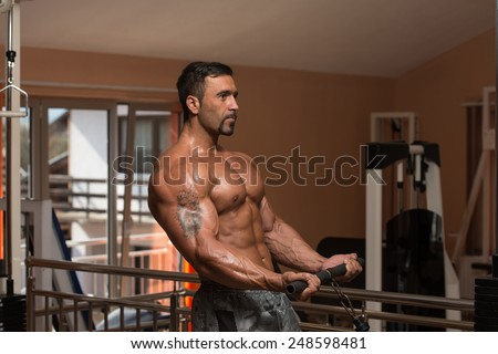 Mexican Bodybuilder Doing Heavy Weight Exercise For Biceps - stock photo