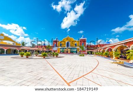 Mexican, caribbean hacienda, ranch plaza. Decorative traditional design. Theatrical stage. - stock photo