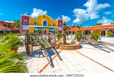 Mexican, caribbean hacienda, ranch plaza. Decorative traditional design. Theatrical stage. - stock photo
