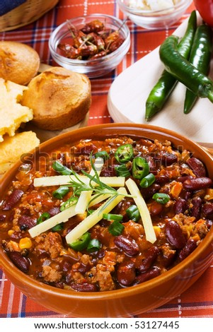 Mexican chili con carne ready to eat - stock photo