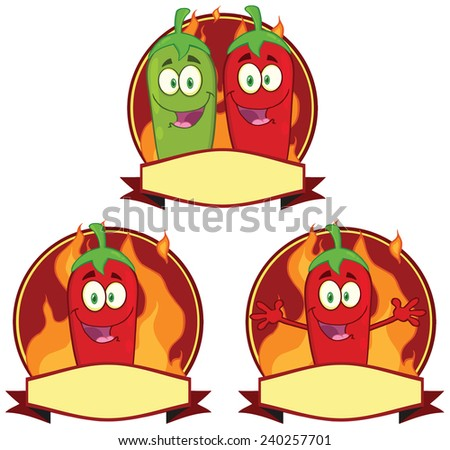 Mexican Chili Peppers Cartoon Mascot Label. Raster Collection Set - stock photo
