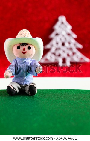 Mexican Christmas (Doll and Christmas Tree) - stock photo