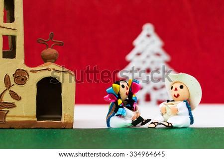 Mexican Christmas (Dolls, church and Christmas Tree) - stock photo