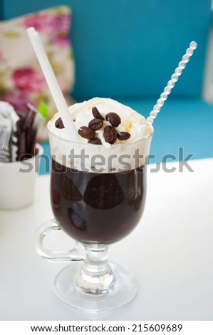 Mexican coffee - coffee cocktail with tequila and liqueur - stock photo