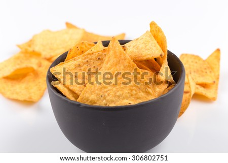 mexican corn nachos chips, isolated on white background - stock photo