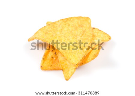 mexican corn nachos chips, isolated on white background
