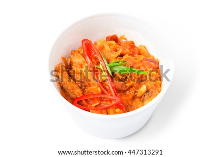Mexican cuisine food delivery - chili con carne in white plastic plate closeup isolated at white background - stock photo