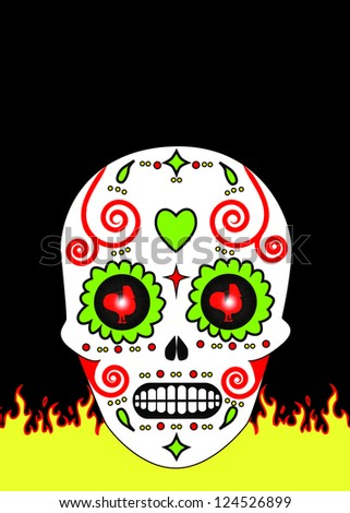 Mexican Day of the Dead Skull - stock photo