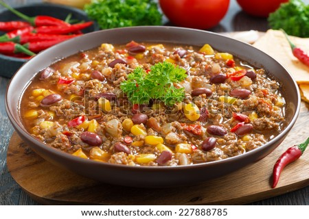 Mexican dish chili con carne, close-up - stock photo
