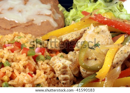 mexican fajitas made with delicious ingredients the most famous mexican plate - stock photo