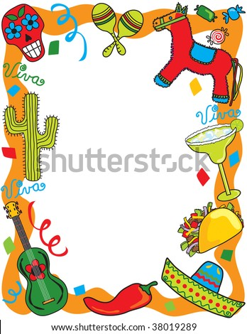 Mexican Fiesta frame, great for invitation or menu. - stock photo