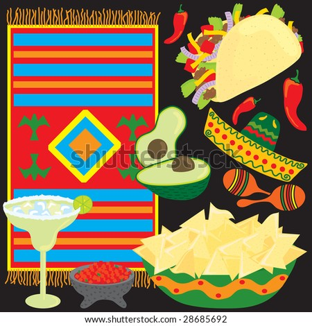 Mexican Fiesta Party elements individually grouped to make your own Fiesta - stock photo