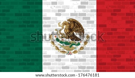 mexican flag illustration design graphic over a brick wall background - stock photo