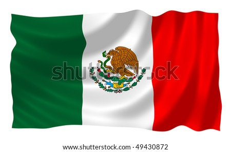 Mexican flag waving in the wind - stock photo