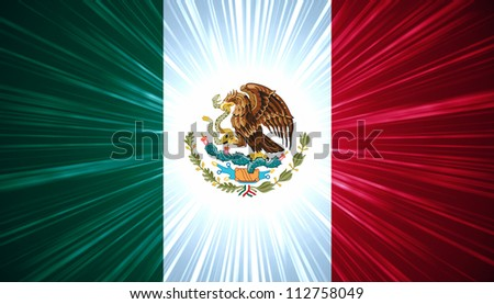 Mexican flag with light rays abstract background - stock photo