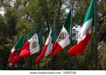 Mexican Flags in Mexico City, Mexico - stock photo