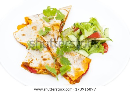 Mexican food dishes at the restaurant on a white background - stock photo