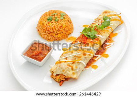 Mexican food dishes isolated on white - stock photo