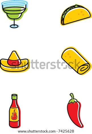 Mexican Food Icons - stock photo
