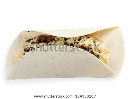 Mexican food ingredients on a white background - stock photo