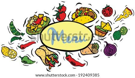 Mexican Food Menu Sign - stock photo
