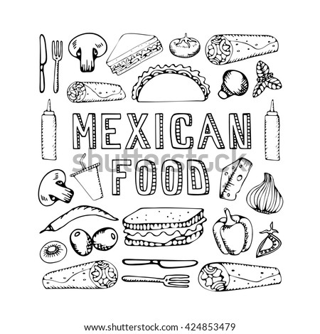 Mexican food. Mexican kitchen. Mexican food menu for restaurant, cafe. Mexican food menu.